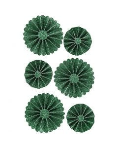 Paper Rosettes, D: 35+50 mm, green glitter, 6 pc/ 1 pack