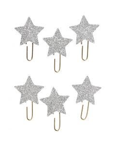 Metal Paperclips, star, D: 30 mm, glitter silver, 6 pc/ 1 pack