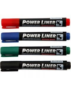 Power Liner, black, blue, green, red, 4 pc/ 1 pack