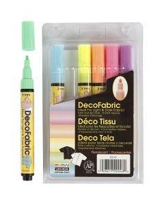 Deco Textile Markers, line 3 mm, neon colours, 6 pc/ 1 pack