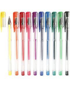 Gel Pens, line 0,8 mm, assorted colours, 10 asstd./ 1 pack