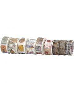 Washi Tape, L: 3+5 m, W: 15+25 mm, 9 roll/ 1 pack