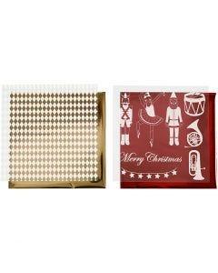 Deco Foil and transfer sheet, nutcracker, santa and ballarina, 15x15 cm, gold, red, white, 4 sheet/ 1 pack