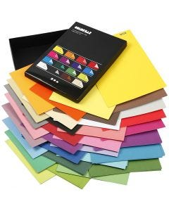 Color Bar Paper, A4, 210x297 mm, 100 g, assorted colours, 16x10 sheet/ 1 pack