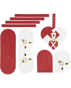Woven Hearts, size 12,5x11,5 cm, gold, red, white, 8 set/ 1 pack