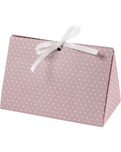 Folding gift box, dots, size 15x7x8 cm, 250 g, rose, white, 3 pc/ 1 pack