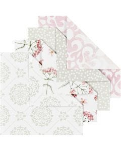 Origami Paper, size 10x10 cm, 80 g, green, grey, light red, white, 40 sheet/ 1 pack