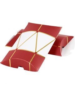 Pillow box, drum, size 14,9x9,4x2,5 cm, 300 g, gold, red, white, 3 pc/ 1 pack