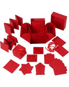 Explosion box, size 7x7x7,5+12x12x12 cm, red, 1 pc