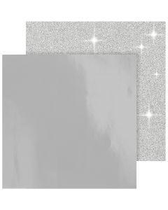 Design Paper, 30,5x30,5 cm, 120+128 g, silver, 2 sheet/ 1 pack