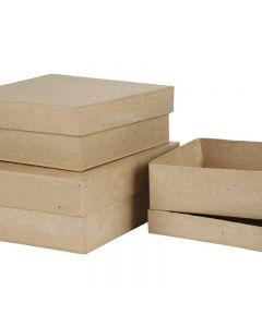 Square Boxes, H: 5+6+7,5 cm, size 16+18+20 cm, 3 pc/ 1 set