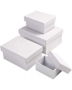 Rectangular Boxes, H: 3,5+4,5+5,5+6,5 cm, size 8,5x11,5+11x14 cm, white, 4 pc/ 1 set