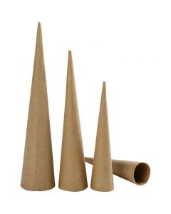 Tall Cones, H: 20-25-30 cm, D: 4-5-6 cm, 3 pc/ 1 pack