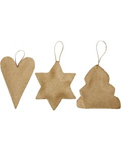 Christmas Ornaments, heart, star, christmas tree, size 8-9 cm, 9 pc/ 1 pack