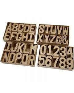 Papier-mâché letters, numbers and signs, H: 20,50 cm, thickness 2,5 cm, 160 pc/ 1 pack