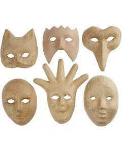 Masks, H: 12-21 cm, 6 pc/ 1 pack