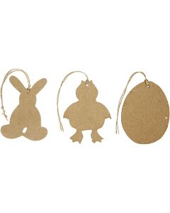 Easter Ornaments, bunny, chicken, eggs, H: 10 cm, 6 pc/ 1 pack