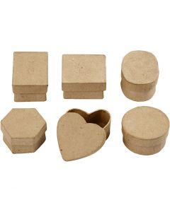 Mini Boxes, H: 3 cm, D: 4-6 cm, 6 pc/ 1 pack