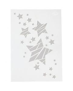 Stencil , stars, A4, 210x297 mm, 1 pc