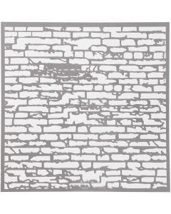 Stencil, brick wall, size 30,5x30,5 cm, thickness 0,31 mm, 1 sheet