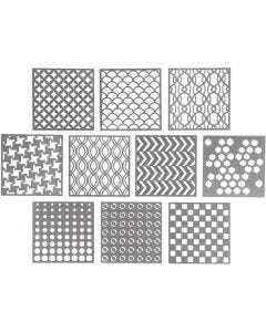 Stencil, size 15x15 cm, thickness 0,31 mm, 10 sheet/ 1 pack