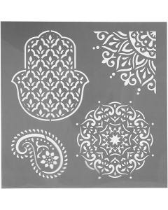 Stencil, ethnic motives, size 30,5x30,5 cm, thickness 0,31 mm, 1 sheet