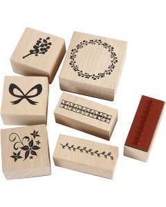 Rubber stamps set, nature, 7 asstd./ 1 pack