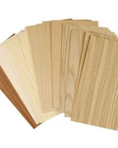 Wood Veneer, 12x22 cm, thickness 0,75 mm, 30 ass sheets/ 1 pack