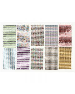 Rhinestones, D: 4-6 mm, 16x9,5 cm, assorted colours, 10 sheet/ 1 pack