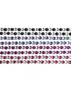 Stick-On Rhinestones, L: 15 cm, W: 4 mm, black, blue, purple, red, 8 sheet/ 1 pack