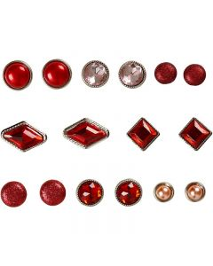 Deco Rivets, size 8-18 mm, red, 16 pc/ 1 pack