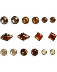 Deco Rivets, size 8-18 mm, brown, 16 pc/ 1 pack