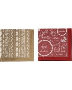 Deco Foil and transfer sheet, Traditional Christmas, 15x15 cm, gold, red, 2x2 sheet/ 1 pack