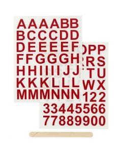 Rub-on Sticker, letters and numbers, H: 17 mm, 12,2x15,3 cm, red, 1 pack