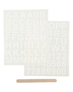Rub-on Sticker, letters and numbers, H: 17 mm, 12,2x15,3 cm, white, 1 pack