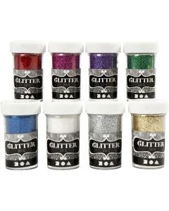 Glitter, assorted colours, 8x20 g/ 1 pack