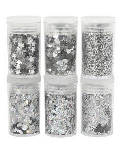 Glitter and Sequin, silver, 6x5 g/ 1 pack