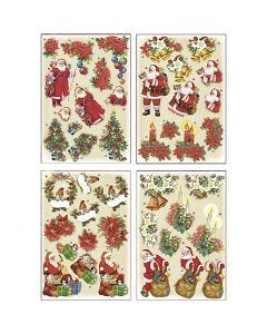 3D Decoupage Motifs, Father Christmas and Poinsettias, 21x30 cm, 4 sheet/ 1 pack