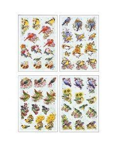 3D Decoupage Motifs, birds, 21x30 cm, 4 sheet/ 1 pack
