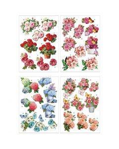 3D Decoupage Motifs, flowers, 21x30 cm, 4 sheet/ 1 pack