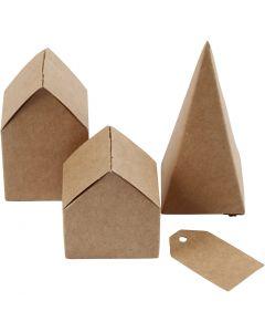 Die cut houses and trees, H: 5,7-10 cm cm, 1 set