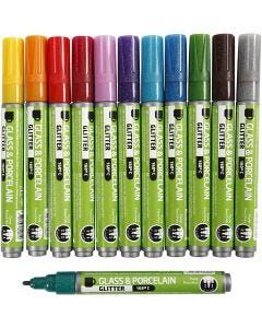 Glass & Porcelain Pens, line 2-4 mm, semi opaque, assorted colours, 12 pc/ 1 pack