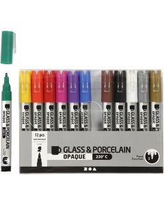 Glass & Porcelain Pens, line 1-2 mm, semi opaque, assorted colours, 12 pc/ 1 pack