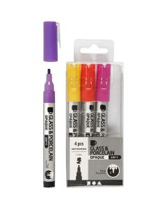 Glass & Porcelain Pens, line 1-2 mm, semi opaque, orange, purple, light red, yellow, 4 pc/ 1 pack