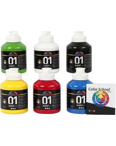 A-Color acrylic paint, glossy, primary colours, 6x500 ml/ 1 pack