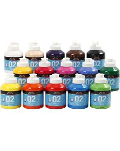 A-Color Acrylic Paint, matt, assorted colours, 15x500 ml/ 1 box