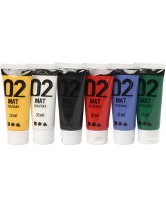 A-Color Acrylic Paint, matt, standard colours, 6x20 ml/ 1 pack