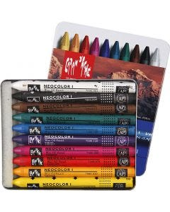 Neocolor I Crayons, L: 10 cm, thickness 8 mm, assorted colours, 10 pc/ 1 pack
