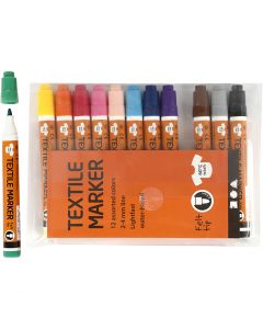Textile Markers, line 2-4 mm, assorted colours, 12 pc/ 1 pack