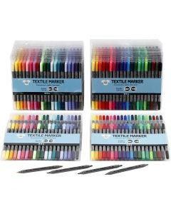 Textile Markers, line 2,3+3,6 mm, standard colours, additional colours, 24x20 pc/ 1 pack